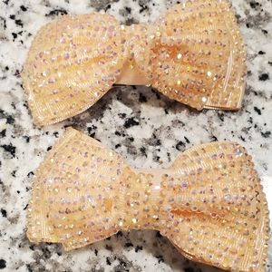SEQUIN PEACH GLITTERY HAIR BOW
